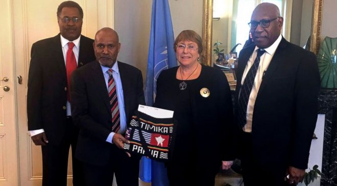 (The Associated Press) In this photo released Wednesday, Jan. 30, 2019, by the United Liberation Movement for West Papua, an exiled leader of Indonesia's Papua region, Benny Wenda, second left, presents a petition to U.N. High Commissioner for Human Rights Michelle Bachelet, second from right, Friday, Jan. 25, 2019, in Geneva, Switzerland. Activists in Indonesia's mountainous jungle-clad Papua region risked imprisonment to collect 1.8 million signatures for a petition calling for self-determination and succeeded in delivering it to the U.N. last week after being rebuffed in 2017. (The United Liberation Movement for West Papua via AP)