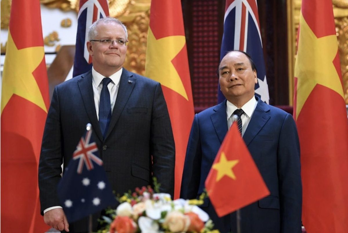 Australian Prime Minister Scott Morrison and his Vietnamese counterpart Nguyen Xuan Phuc, Hanoi, August 23, 2019. Photo: AFP Forum